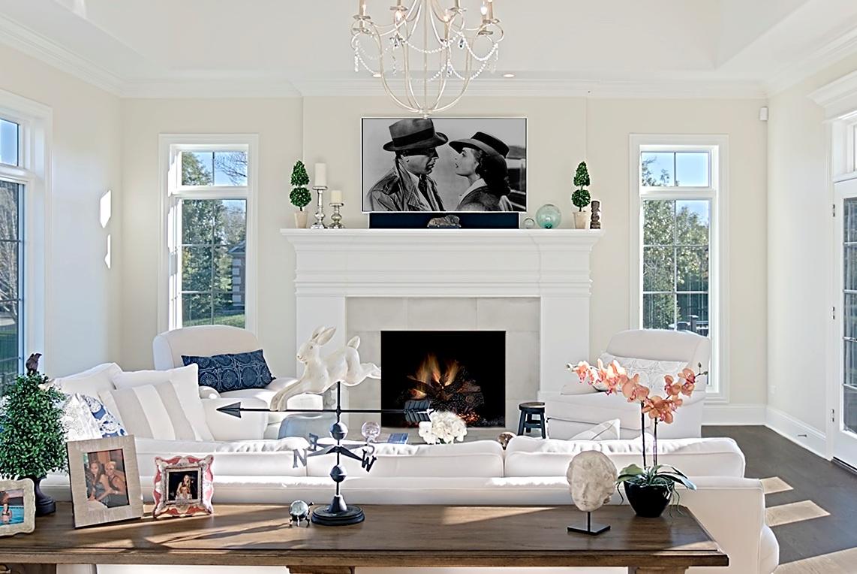 michael buss holiday limestone fireplace wood mantel
